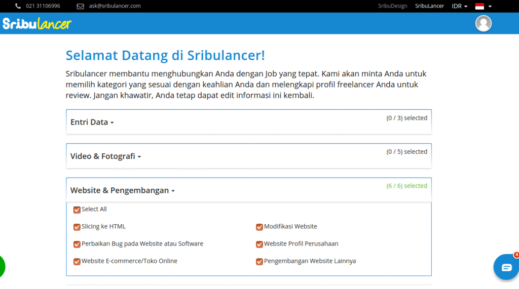 cara daftar freelancer di sribulancer